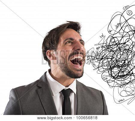 Stressed businessman screams