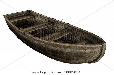 Old wooden boat - 3D render