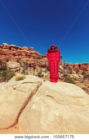 Man in sleeping bag