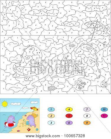 Color By Number Educational Game For Kids. Cute Cartoon Dragons On The Summer Beach.