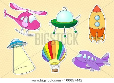 Set Of Air Transport: Balloon, Aircraft, Helicopter, Rocket, Flying Saucer And Ufo