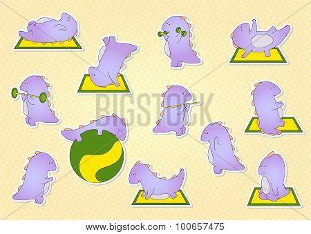 Crummy Bellied Dragon Doing Exercises: Sit-ups, Pull-ups, Push-ups, Press, Meditation And Yoga. Stic