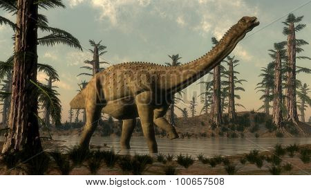 Uberabatitan dinosaur in the lake - 3D render