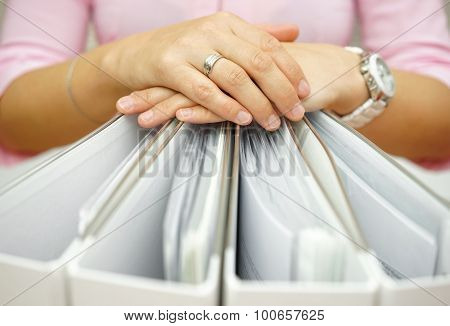 Secretary Holding Binders, Concept Of Accounting,business,documentation,paperwork