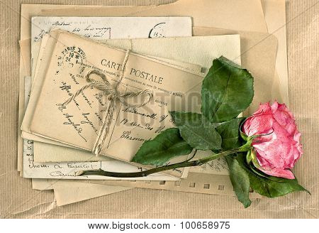 Old Letters And Rose Flower. Vintage Handwriting. Retro Style
