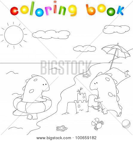 Lovely Imaginary Dragons Splashing In The Water And Building A Sand Castle On The Sea Shore. Colorin