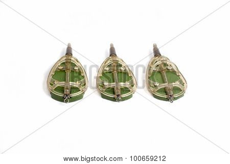 Three Fishing Feeder Isolated On A White Background