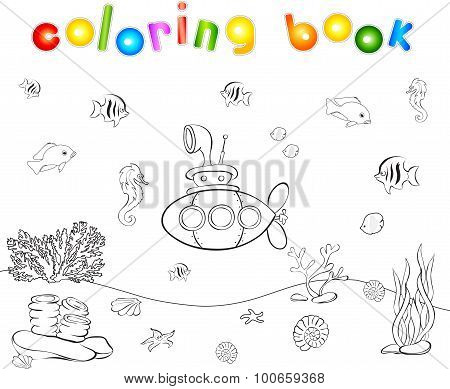 Submarine And Fish Under Water. Seahorse, Jellyfish, Coral And Starfish On The Ocean Floor.