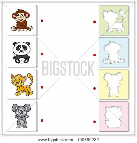 Monkey, Panda, Tiger And Koala Bear. Educational Game For Kids