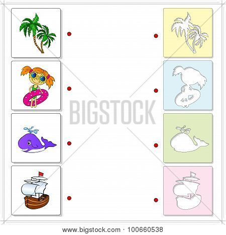 Palms, Girl With Inflatable Circle, Whale And Sailing Ship. Educational Game For Kids
