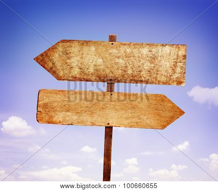 Wood Labels With Sky Guidance Signpost Concept