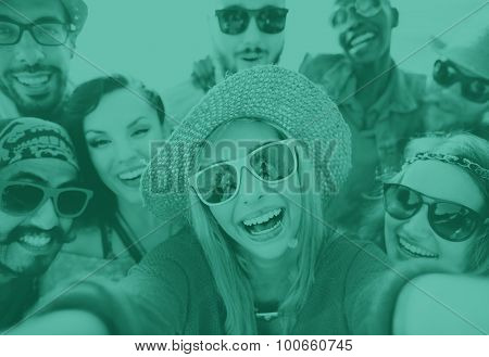 Friendship Selfie Relaxation Summer Beach Happiness Concept