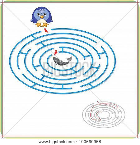 Penguin Must Go To Fish Through The Maze And Don't Get Lost