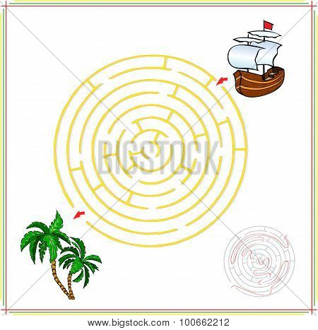 Help The Ship Go Through A Maze And Find Tropical Island With Palms