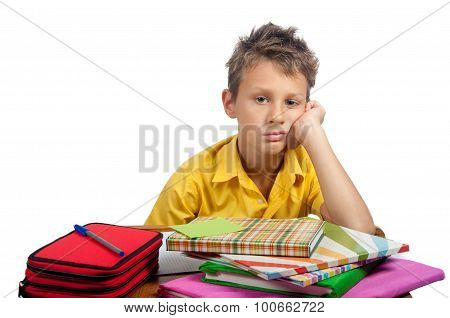 Boy With Book Looking Bored. All On White Background.