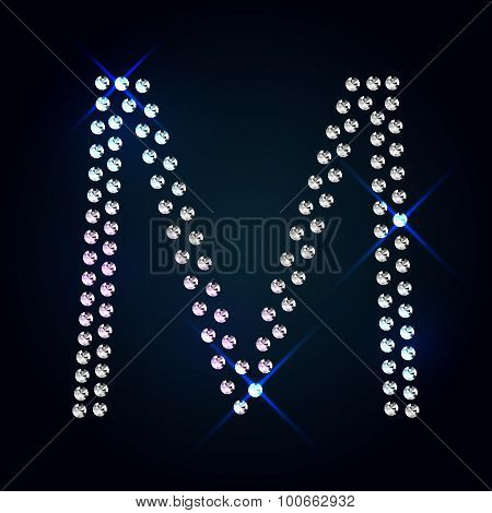 Gems M letter. Shiny diamond font.