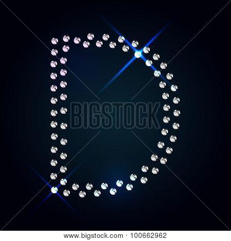 Gems D letter. Shiny diamond font.