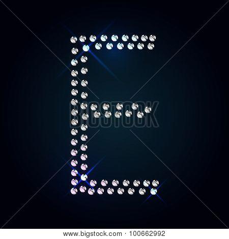 Gems E letter. Shiny diamond font.