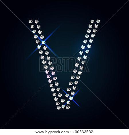 Gems V letter. Shiny diamond font.