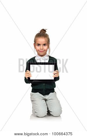 Little Girl  With Blank Touch Pad