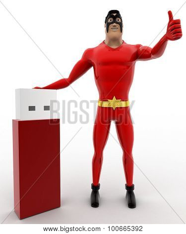 3D Superhero With Usb Pendrive Concept