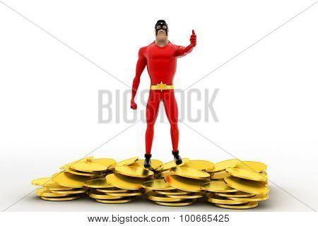 3D Superhero Golden Coins Concept
