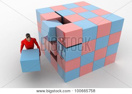 3D Superhero Making Big Cube From Small Pink And Blue Cubes Concept