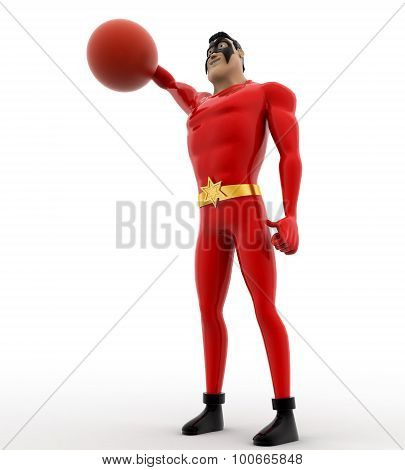 3D Superhero Hitting Voleyball Ball Concept