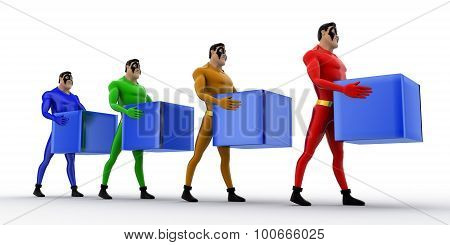 3D Superheros In Queue And Holding Square Cubes Concept