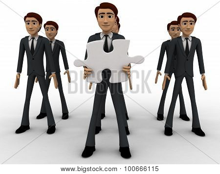 3D Men In Three Line And One Man Holding Puzzle Piece With Text Here Concept