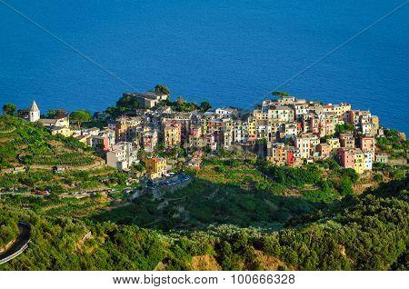 Corniglia Cinque Terre (italian Riviera Liguria) And Sea