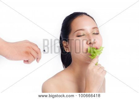Beautiful Woman With Syringe Eating Green Oak