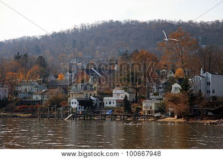 Small town on the Hudson river, USA