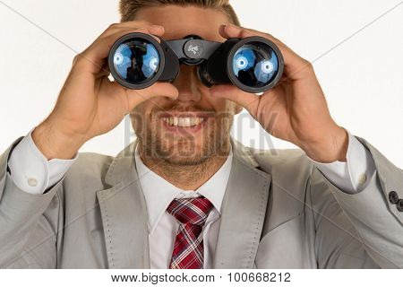 a manager (young entrepreneurs) with binoculars looking for jobs or jobs