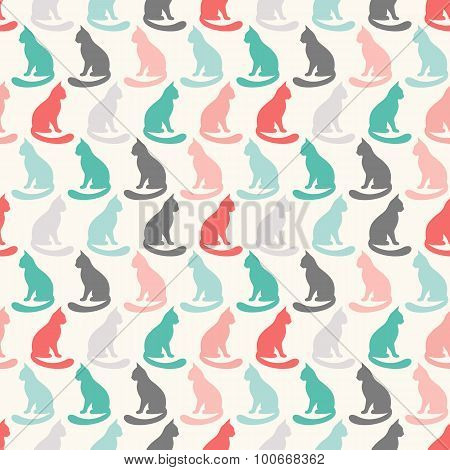 Animal seamless vector pattern of cat silhouettes.