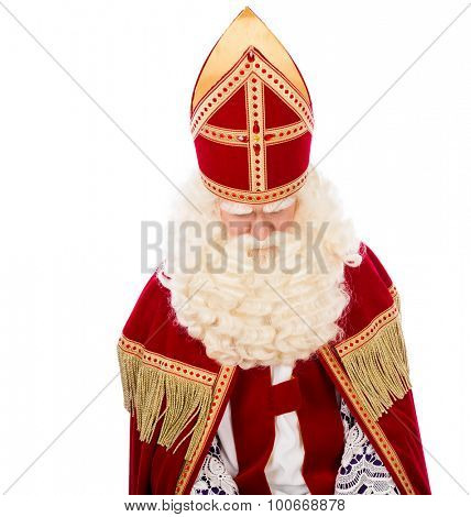 Sinterklaas looking down. isolated on white background. Dutch character of St. Nicholas