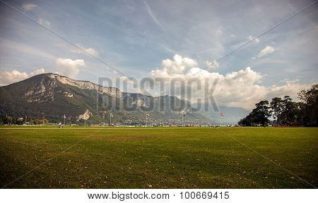 Lakefront park in Annecy, Haute - Savoie, France
