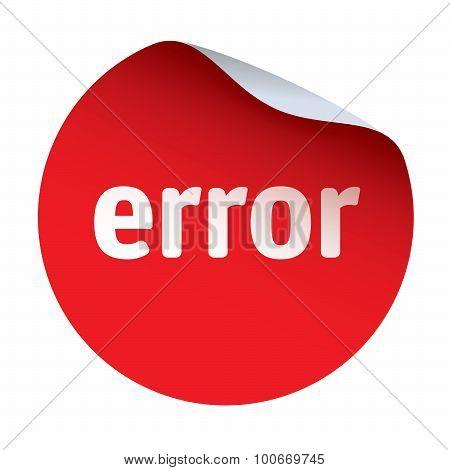Red Vector Sticker Text Error