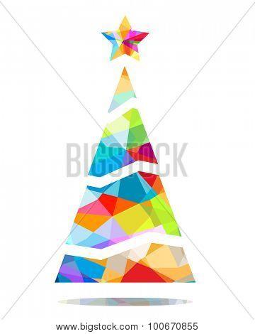 colorful christmas tree triangular design