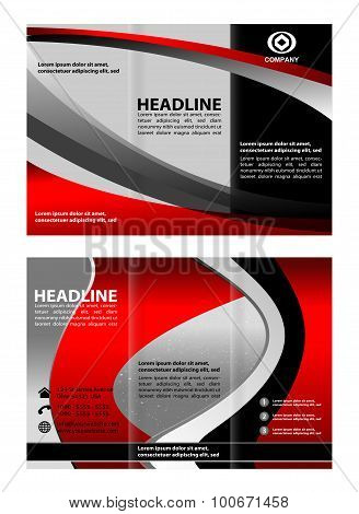 Red brochure tri fold template