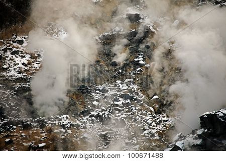 Volcaninc gas and steam on Mount Fuji Japan