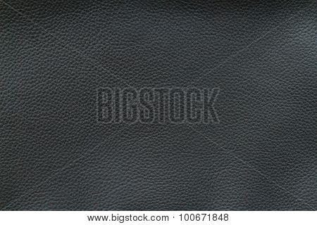 Texture Of Old Crumpled Black Leather.
