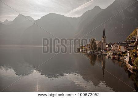 Panoramic view of Hallstatt lake and town Salzkammergut Austria