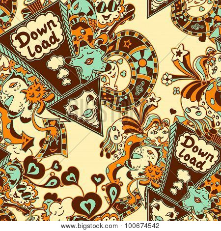 Seamless pattern with doodle monsters blue yellow brown