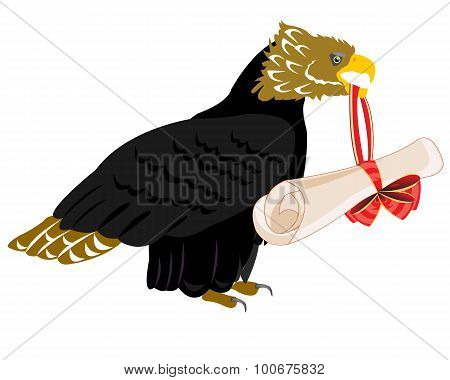 Eagle with paper retinue