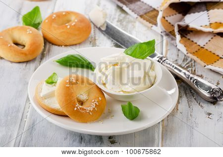 Fresh Bagel With Cream Cheese For Breakfast.