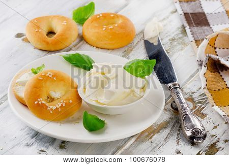Fresh Bagels With Cream Cheese For Breakfast.