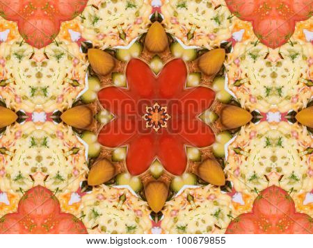 Orange Color Drawing In Kaleidoscope Pattern