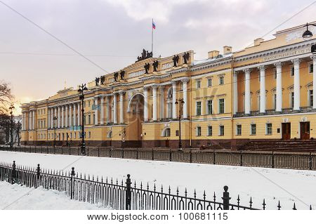 Snowy Morning In St. Petersburg. Russia