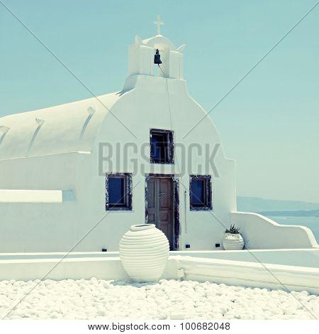 Traditional Blue Dome Church In Santorini, Greece